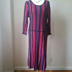 Ashley Stewart knit ribbed color block dress 18-20